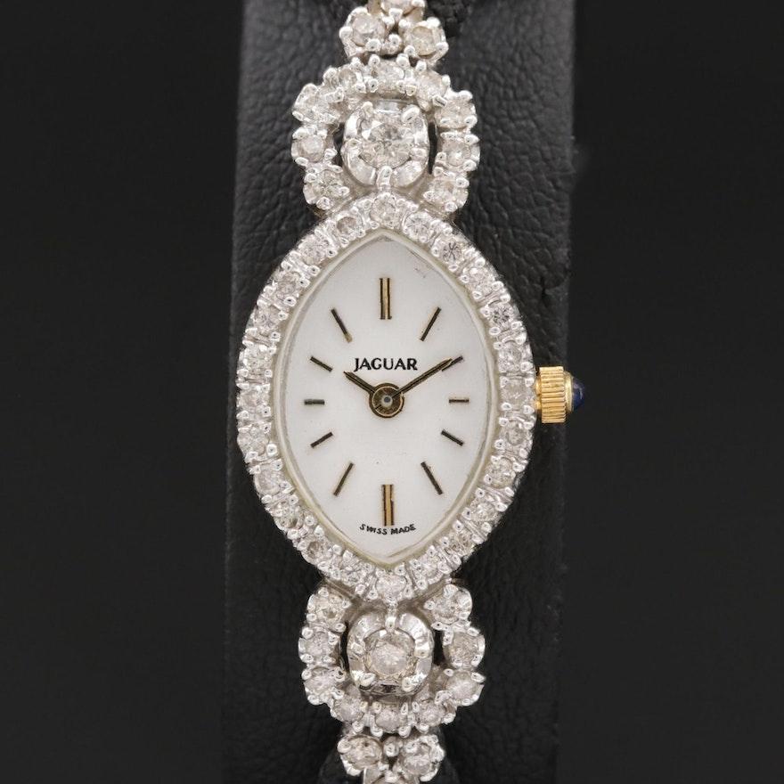 Jaguar 1.00 CTW Diamond and 14K Gold Quartz Wristwatch, Vintage
