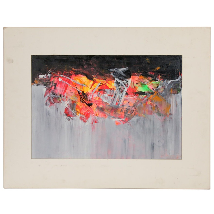 Abstract Mixed Media Painting, Mid 20th Century
