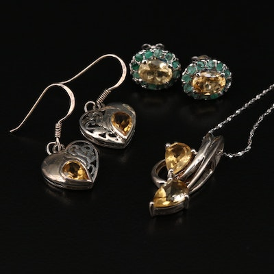 Sterling Silver Necklace and Earrings with Citrine and Emerald