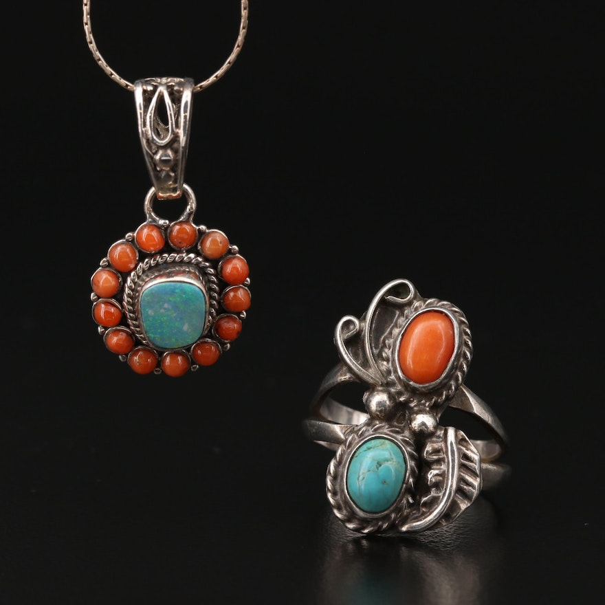 Southwestern Style Sterling Opal Doublet, Turquoise and Coral Ring and Necklace