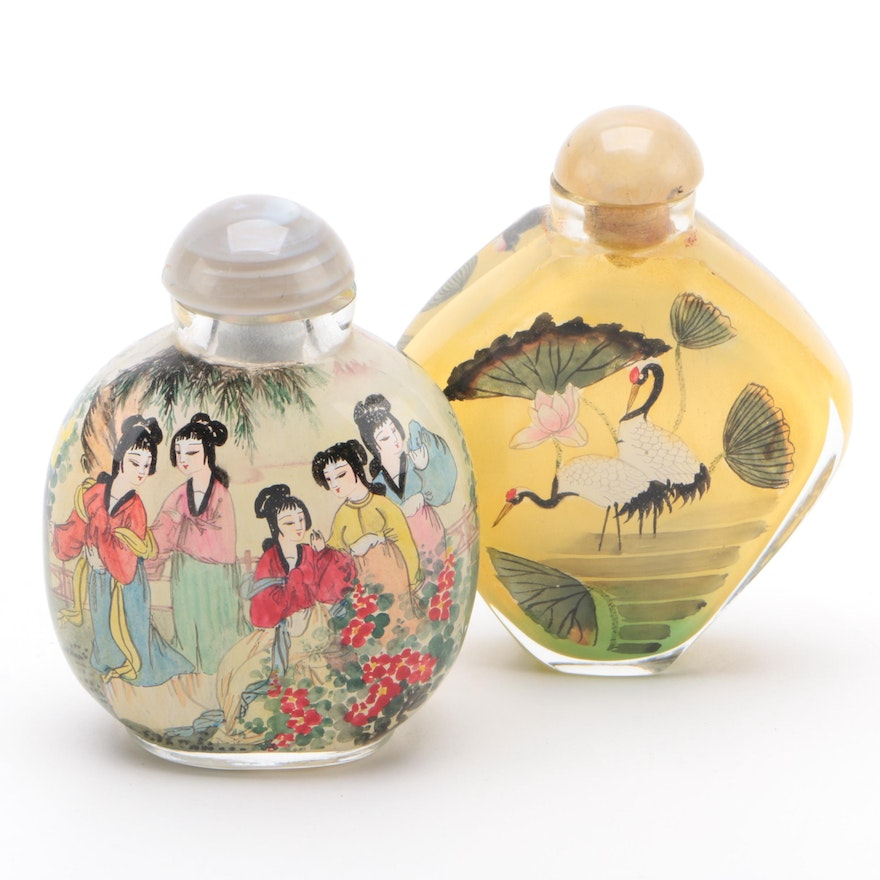 Chinese Reverse-Painted Glass Snuff Bottles