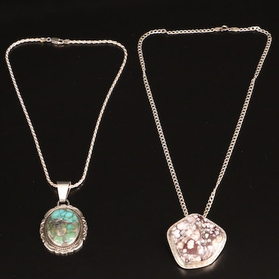 Southwestern Style Sterling Silver Turquoise and Jasper Pendant Necklaces