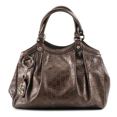 Gucci Guccissima Dark Bronze Leather Hobo Bag