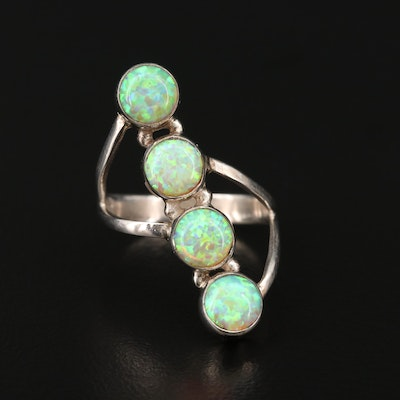 Sterling Silver Synthetic Opal Ring