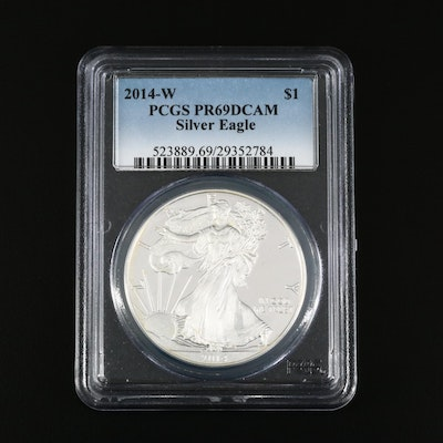 PCGS Graded PR69DCAM 2014-W $1 Proof American Silver Eagle