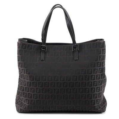 Fendi Dark Brown Zucchino Canvas and Black Leather Tote Bag