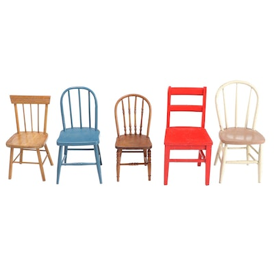 Five Wood Child's Side Chairs, 20th Century