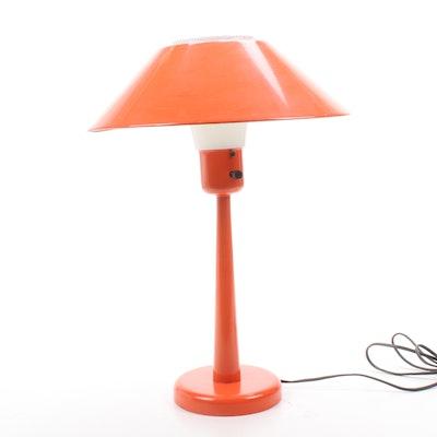Mid Century Modern Orange Metal Table Lamp