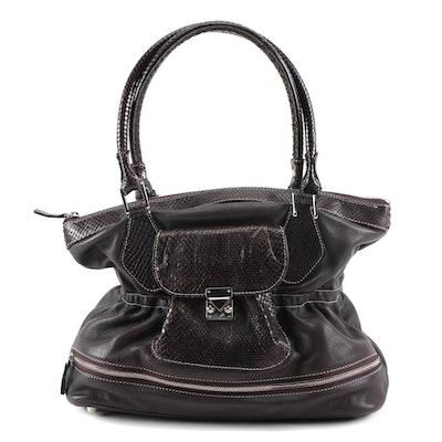 Laurent Eiffel Dark Brown Leather and Python Trimmed Shoulder Bag