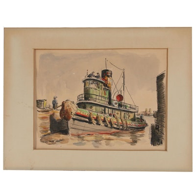 Walter Condit Ink and Watercolor Painting of Tugboat, Mid 20th Century