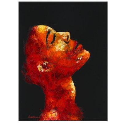 """Oluwakemi Omowaire Oil Painting """"Lifeline is Faith"""", 2020"""