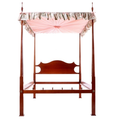 Cherry Pencil-Post Canopy Full Sized Bed Frame, Late 20th Century