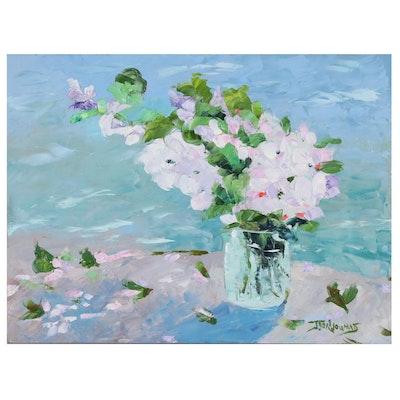 "James Baldoumas Oil Painting ""Sea & Apple Blossoms"""