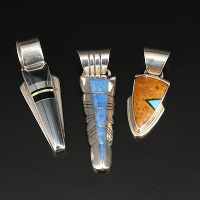 Chester Benally and Marie Tsosie Navajo Diné Sterling Silver Gemstone Pendants
