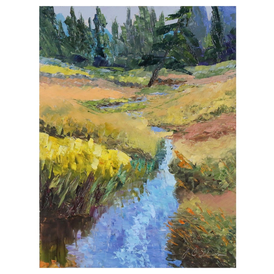 "James Baldoumas Landscape Oil painting ""Swale and Reeds"""