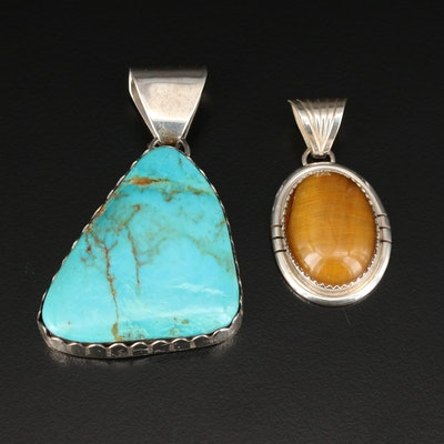 H. Spencer Navajo Diné Sterling Silver Tiger's Eye and Turquoise Pendants