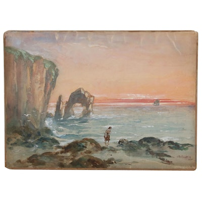 J.A.Christie Watercolor Painting of Coastal Landscape with Figure