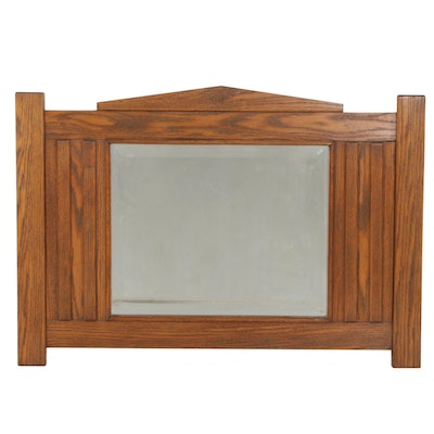 Arts and Crafts Mission Oak Beveled Mantle Mirror