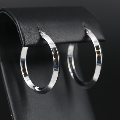Sterling Silver Knife-Edge Hoop Earrings