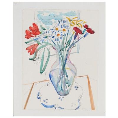 Richard Thomas Floral Still Life Mixed Media Painting