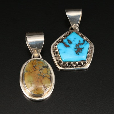 M. Silversmith Navajo Diné Sterling Turquoise Pendants
