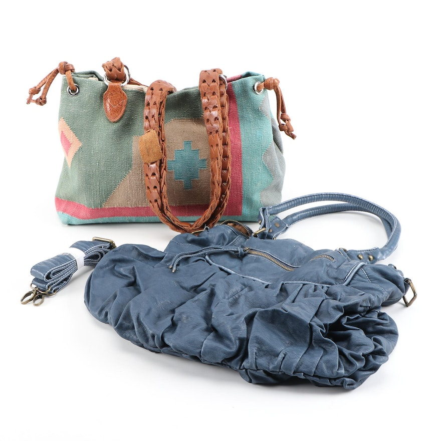 Marco Avane Kilim and Red Camel Blue Pleated Shoulder Bags