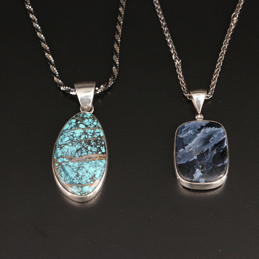 Sterling Gemstone Pendant Necklaces with Turquoise and Pietersite