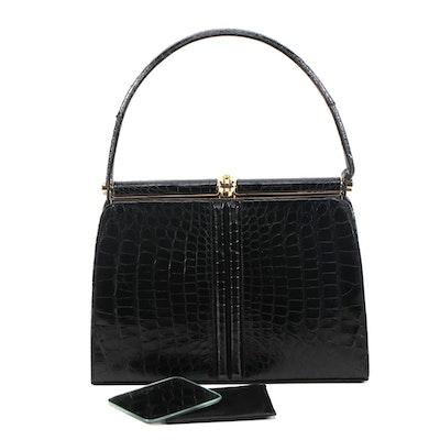 Lucille de Paris Black Alligator Skin Handbag with Pocket Mirror, Vintage