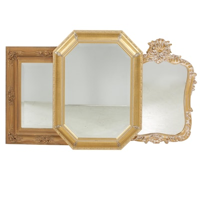 Decorative Gold Tone Wall Mirrors, Late 20th Century