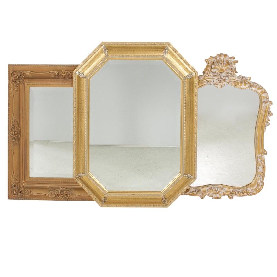 Decorative Gold Tone Wall Mirrors, Late 20th Century