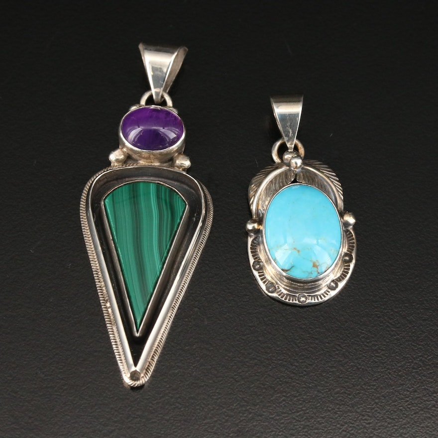 Roie Jaque Navajo Diné Sterling Silver Turquoise and Gemstone Pendants
