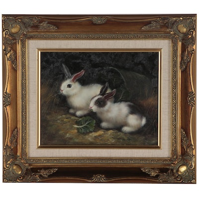 Realist Oil Painting of Rabbits