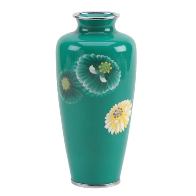 Green Cloisonné Vase with Chrysanthemum Motif, Mid to Late 20th Century
