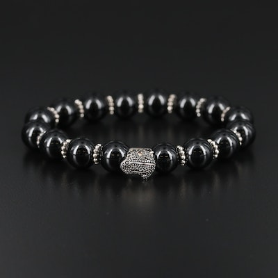 Sterling Silver Black Onyx Expandable Bracelet