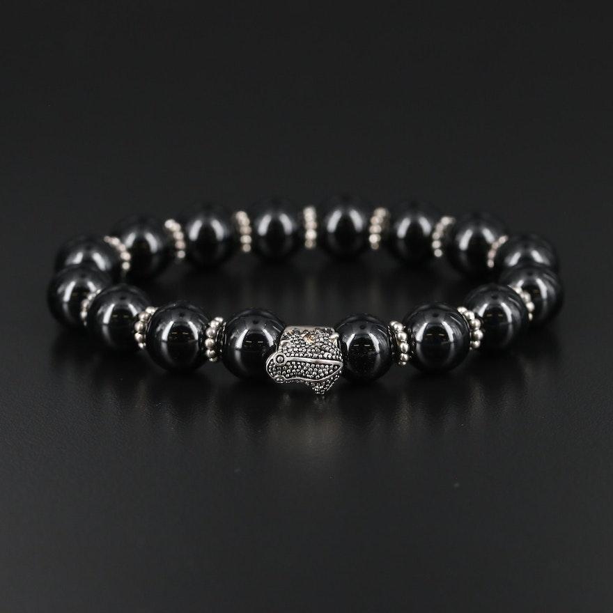 Sterling Silver Black Onyx Expandable Bracelet