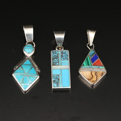 Sterling Silver Gemstone Inlay Pendants Featuring Apache and Navajo Artisans