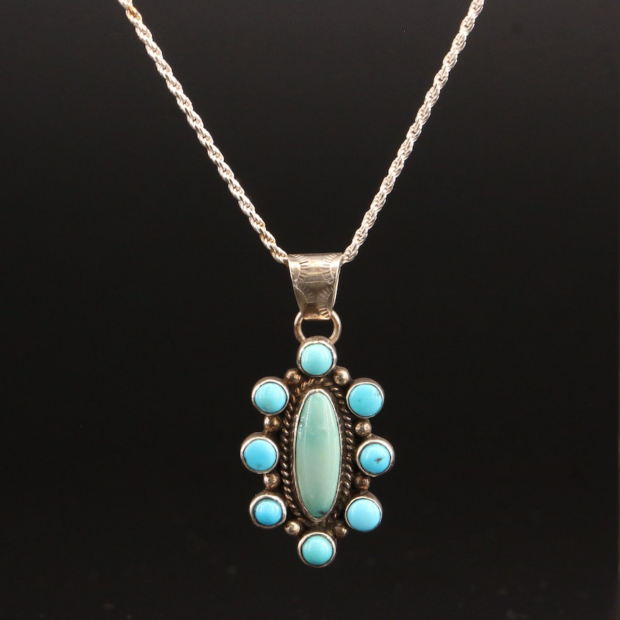 P. Skeet Navajo Diné Sterling Silver Turquoise Pendant Necklace