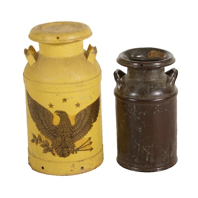 Metal Milk Jugs, Early to Mid 20th Century