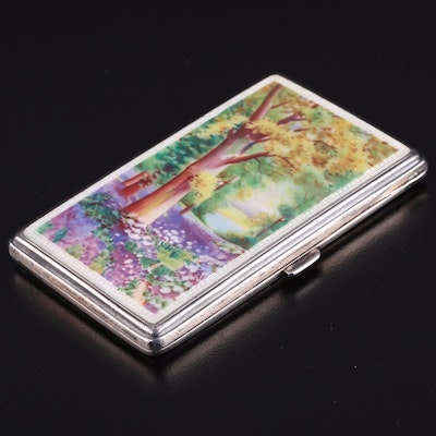 English Import Sterling Silver and Hand-Painted Enamel Case, 1928
