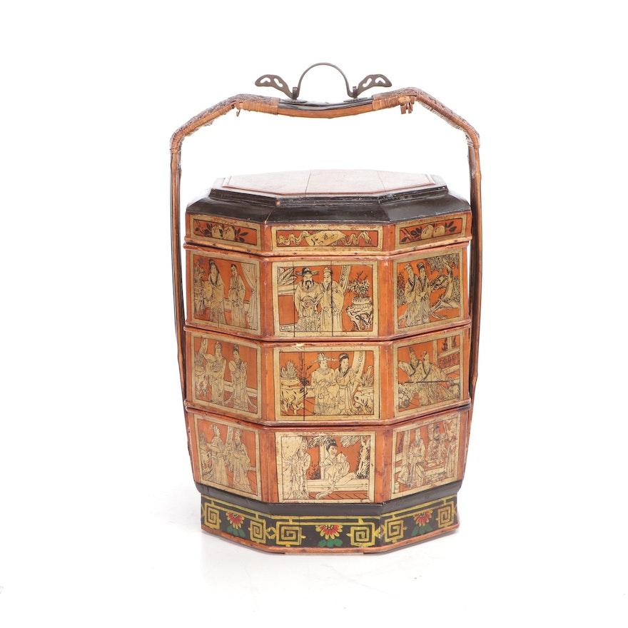 Antique Chinese Bamboo Wedding Basket