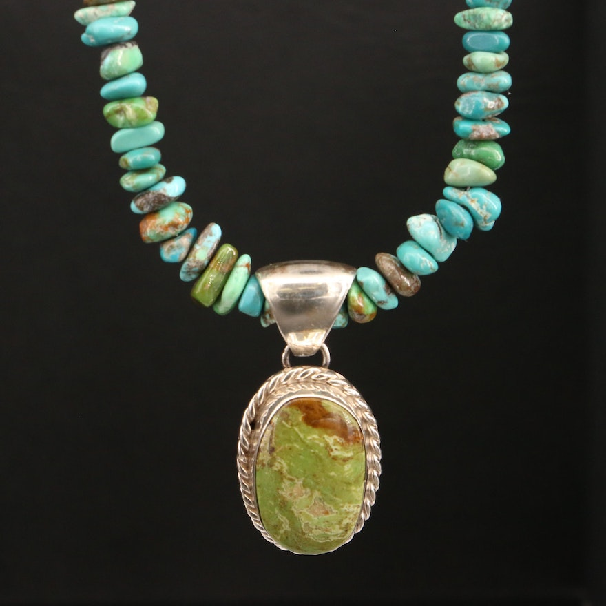 Signed Martinez Sterling Turquoise Pendant Necklace