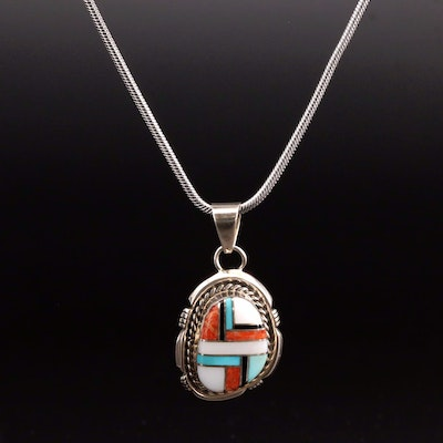 Kay Yazzie Navajo Diné Sterling Silver Coral and Gemstone Inlay Pendant Necklace