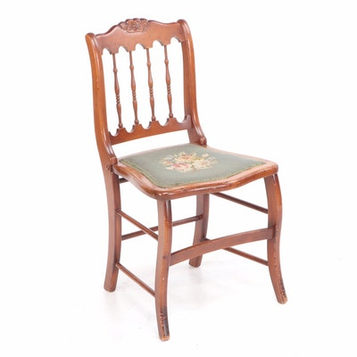 Victorian Side Chair with Needlepoint Upholstered Seat