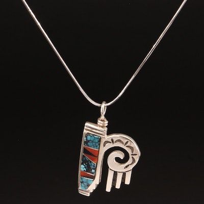 Southwestern Style Sterling Silver Turquoise and Coral Inlay Pendant Necklace