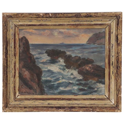 Seascape Oil Painting, Late 19th to Early 20th Century