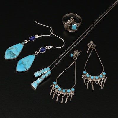 Southwestern Style Sterling Jewelry with Turquoise and Lapis Lazuli