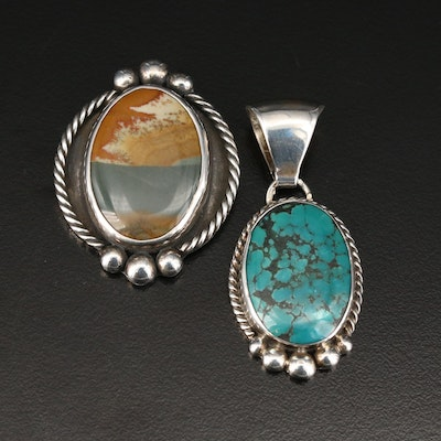 Southwestern Style Sterling Silver Jasper and Turquoise Pendants