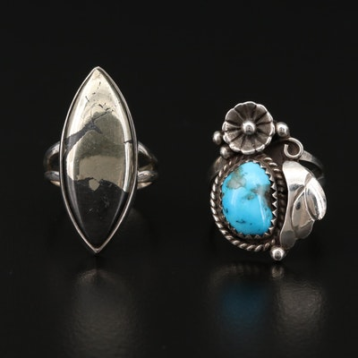Sterling Silver Rings with Turquoise, Pyrite and Black Onyx