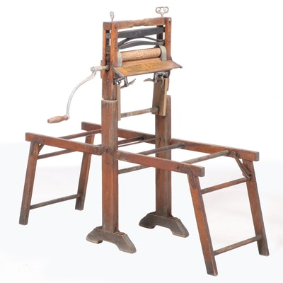 """Lovell Mfg. Co. """"Anchor Brand"""" Wood Clothes Wringer with Collapsible Tub Stand"""