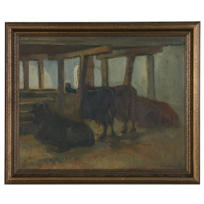 Eiler Løndal Oil Painting of Cows in Stable, Circa 1937